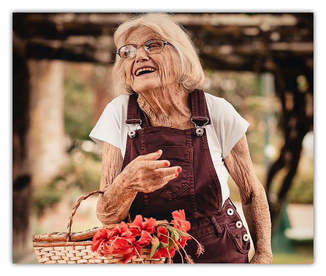 older woman with flower basket