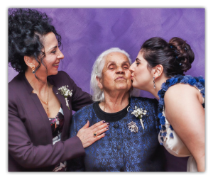 elderly mother and daughters