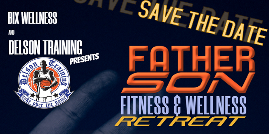 father son fitness & wellness retreat poster